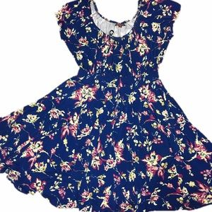 Plus Size 22 Floral Blue Peasant Swing Dress